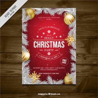 Brochura festa de Natal com folhas do abeto e esferas douradas