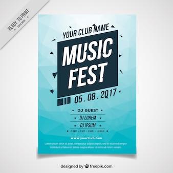 Brochura festival azul abstrato