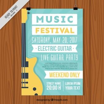 Brochura festival de música com a guitarra elétrica