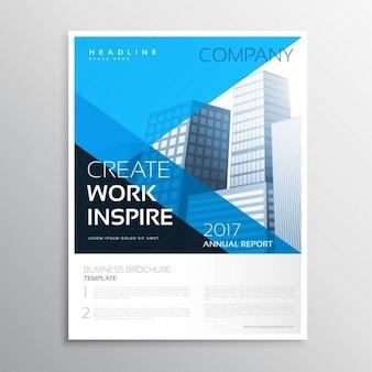 Brochura relatório anual de negócios na cor azul