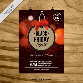 Brochura sexta feira preta com fundo borrado