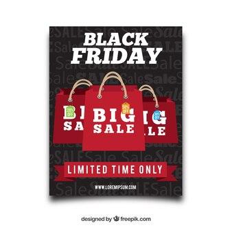 Brochura sexta feira preta com sacos de compras