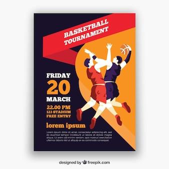 Brochura torneio com jogadores de basquete