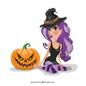 Bruxa com cabelo roxo