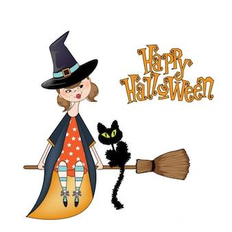 Bruxa isolado no fundo branco Ilustração de Halloween