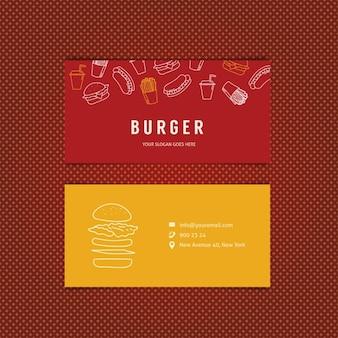 Burger cartão do molde do restaurante com fundo estrelas fogo