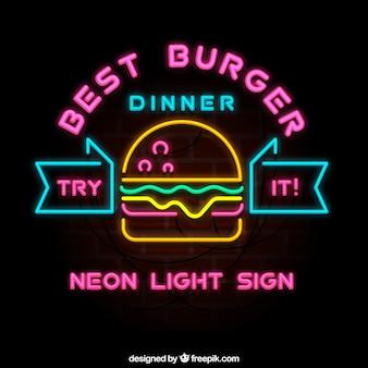 Burger sinal de néon da barra