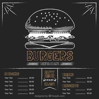 Burgers, restaurante, menu, giz, tábua