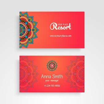Business Card Elementos decorativos do vintage Floral decorativo cartões de visita ilustração oriental do vetor do teste padrão