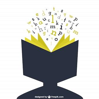 Cabeça humana como um livro aberto