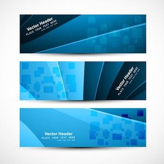 Cabeçalhos coleção em tons de azul