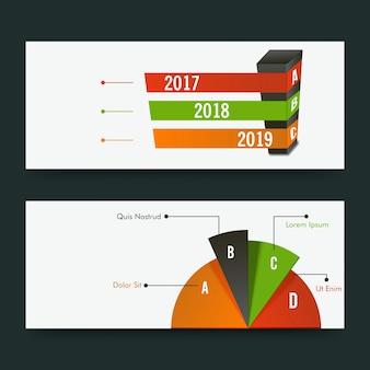 Cabeçalhos de site ou design de banners com design de infografia.