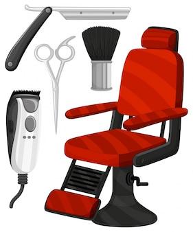 Cadeira de barbeiro e outros equipamentos
