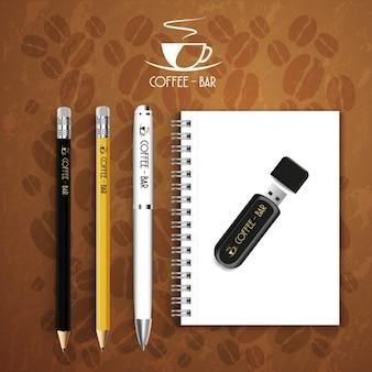 Café-bar logo set de papelaria