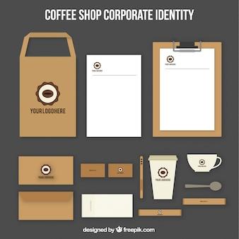 Café identidade corporativa com feijão de café