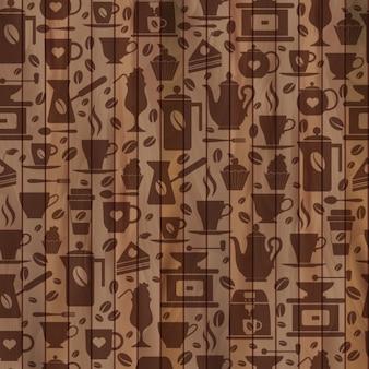 Café padrão sem emenda com uma textura Brown copos de ícones do café em de madeira