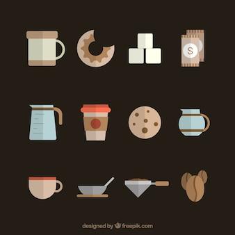 Cafeteira e elementos de café