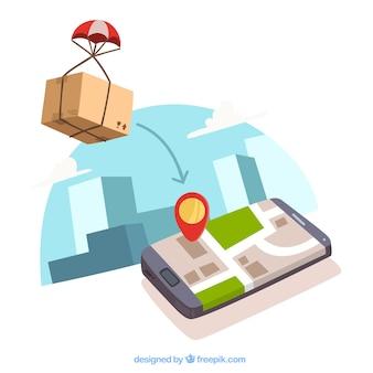 Caixa com pachute e telefone com localização