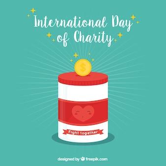 Caixa de dinheiro com coração para o dia da caridade