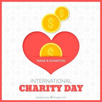 Caixa de dinheiro do coração e moedas com design plano