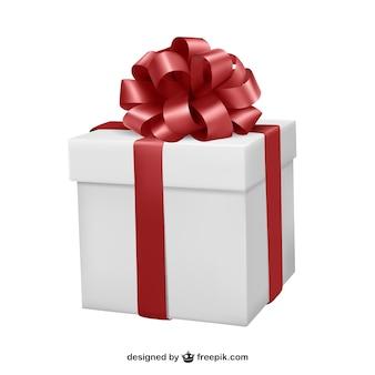 Caixa de presente com fita vermelha