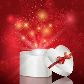 Caixa de presente de natal em forma de coração