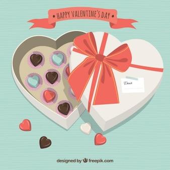 Caixa em forma de coração com chocolates