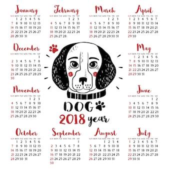 Calendário 2018 com cachorro. ano Novo Chinês
