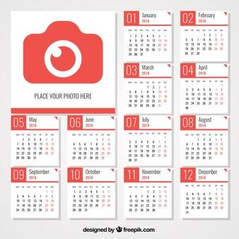 Calendário 2018 com câmera