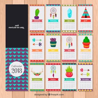 Calendário 2018 com elementos decorativos