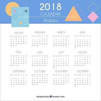Calendário 2018 com formas geométricas