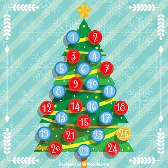 Calendário Árvore advento com esferas do Natal