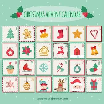 Calendário bonito do advento do Natal