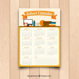 Calendário com material escolar em design plano