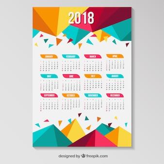 Calendário de 2018 com polígonos coloridos