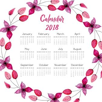 Calendário de coroa floral rosa 2018
