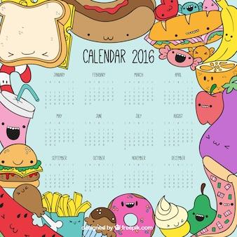 Calendário de fast food esboçado no estilo colorido