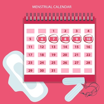 Calendário de menstruação com tampões de algodão