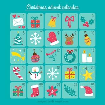 Calendário de Natal de elementos decorativos no estilo do vintage