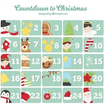 Calendário do advento com personagens bonitos do natal