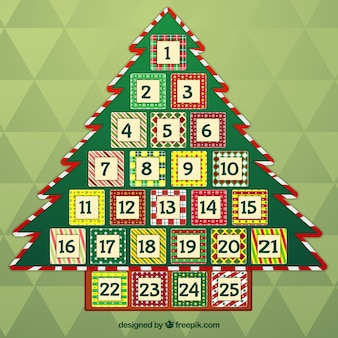 Calendário do advento da árvore de Natal do vintage