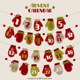Calendário do advento de luvas de Natal no estilo do vintage