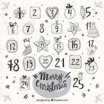 Calendário do advento do vintage com ornamentos desenhados mão