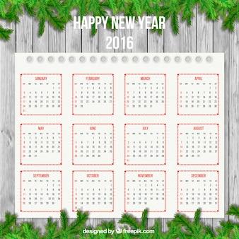 Calendário do ano novo com decoração guirlanda