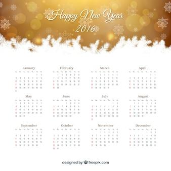 Calendário do ano novo ouro