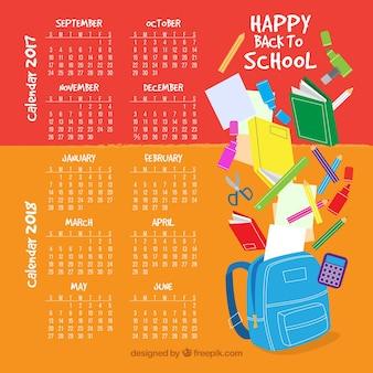Calendário escolar com estilo divertido