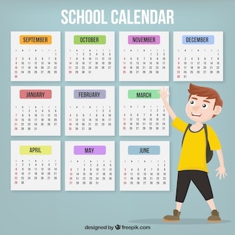 Calendário escolar com menino com camisa amarela
