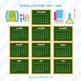 Calendário escolar de quadros e elementos