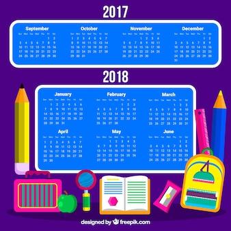 Calendário escolar moderno com materiais