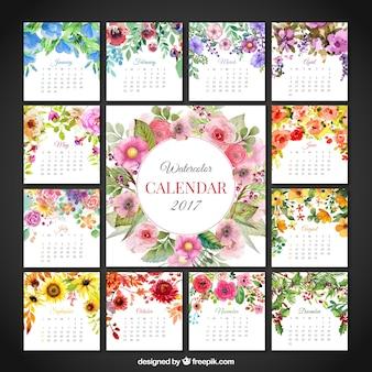 Calendário floral bonito de 2017